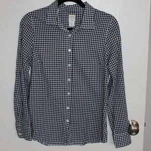 J. Crew Perfect Shirt in Navy Gingham